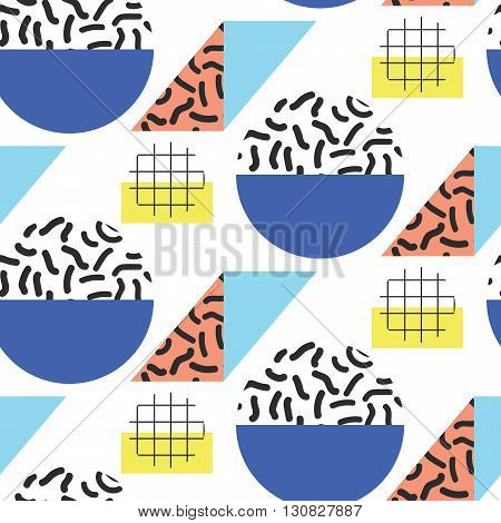 Memphis retro 80s seamless pattern. Checkered lines, abstract shapes, color blocks and dash dots elements in eighties fashion style. Bold colored semicircles and rhombuses.