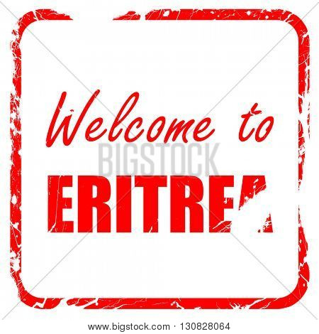 Welcome to eritrea, red rubber stamp with grunge edges