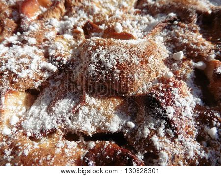 homemade cakes hot cherry pie sprinkled with sugar
