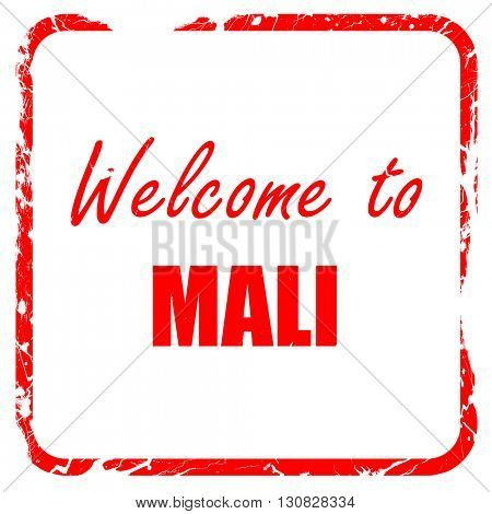 Welcome to mali, red rubber stamp with grunge edges