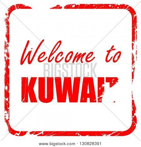 Welcome to kuwait, red rubber stamp with grunge edges