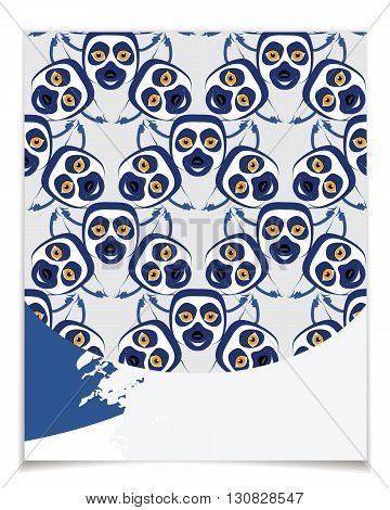 Vector card template with cartoon lemur. Blue and gray colors patterns for posters greeting cards flyers web designs. Anniversary holiday wedding business birthday party invitations.