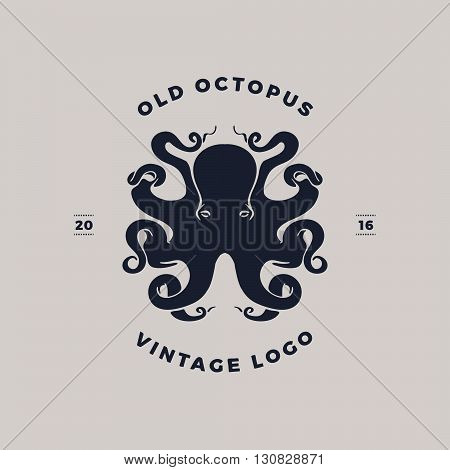 old octopus vintage silhouette, Template for logo, labels and emblems