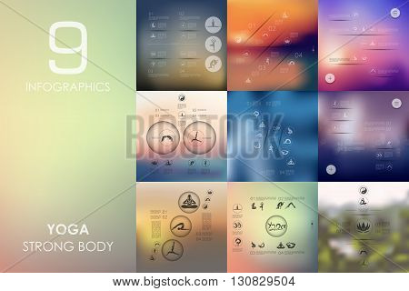 yoga vector infographics with unfocused blurred background