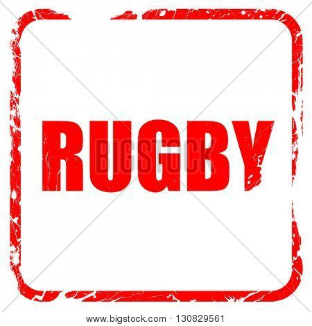 rugby, red rubber stamp with grunge edges