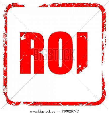 roi, red rubber stamp with grunge edges