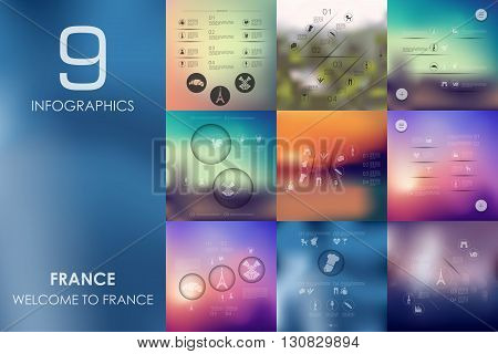 France vector infographics with unfocused blurred background
