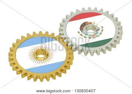 Argentina and Mexico flags on a gears 3D rendering isolated on white background
