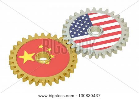 China and United States relations concept flags on a gears. 3D rendering isolated on white background