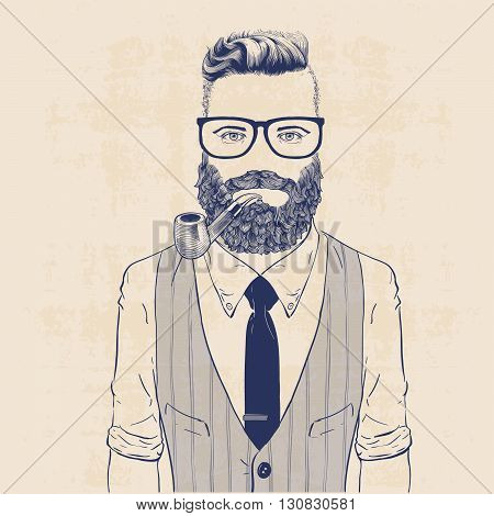 fashion character illustration business hipster with pipe tie and vest