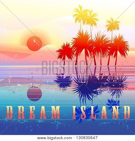 Retro colorful island paradise with palm trees
