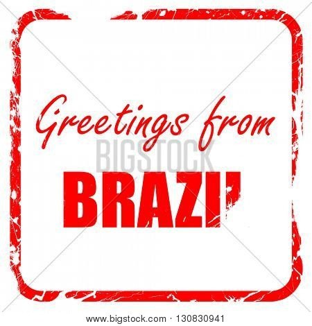 Greetings from brazil, red rubber stamp with grunge edges