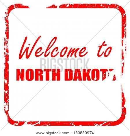 Welcome to north dakota, red rubber stamp with grunge edges