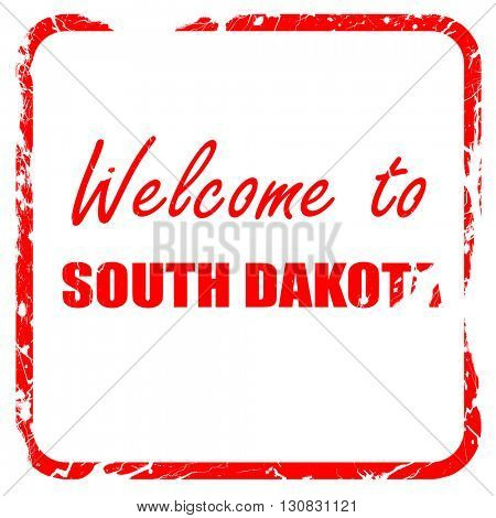 Welcome to south dakota, red rubber stamp with grunge edges