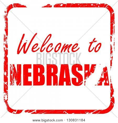 Welcome to nebraska, red rubber stamp with grunge edges