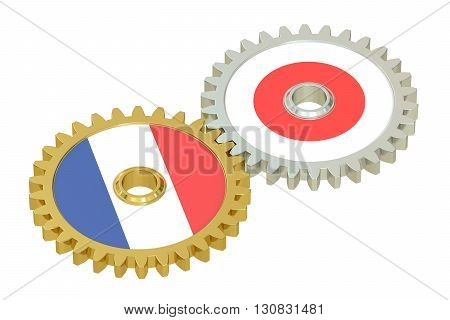 France and Japan flags on a gears 3D rendering isolated on white background