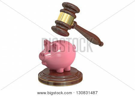 Gavel and Piggy Bank 3D rendering isolated on white background