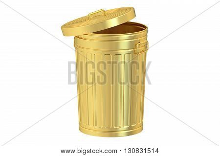 golden garbage can 3D rendering isolated on white background