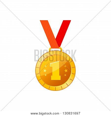 Gold medal icon with red ribbon. Medal vector illustration.