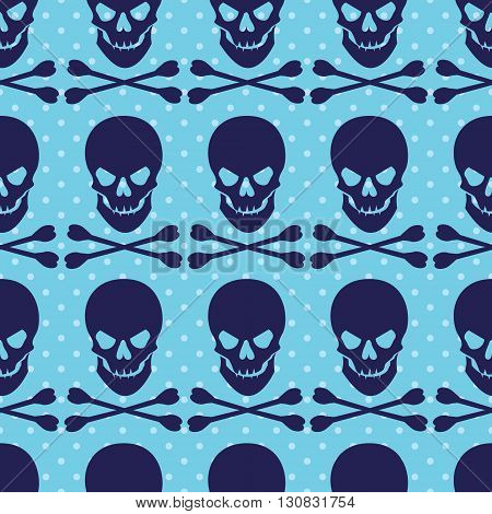 Seamless pattern with skull and crossbones on blue dotted background. Vector illustration.