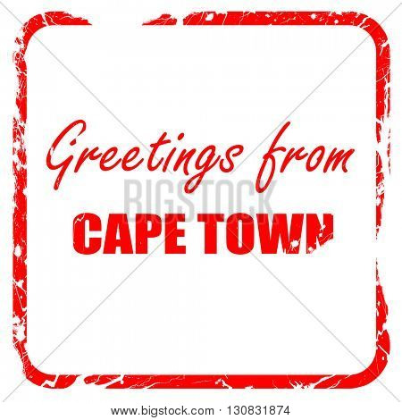 Greetings from cape town, red rubber stamp with grunge edges