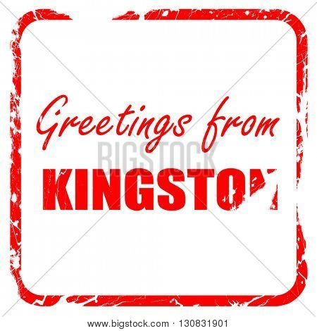 Greetings from kingston, red rubber stamp with grunge edges
