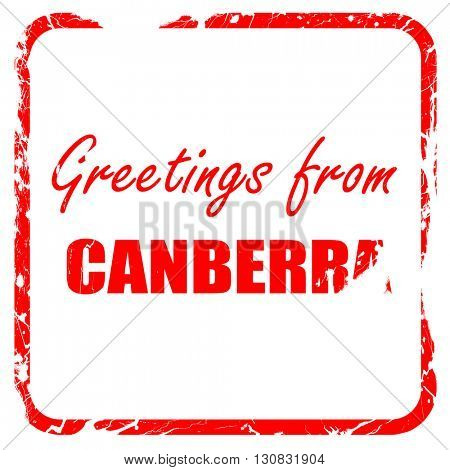 Greetings from canberra, red rubber stamp with grunge edges