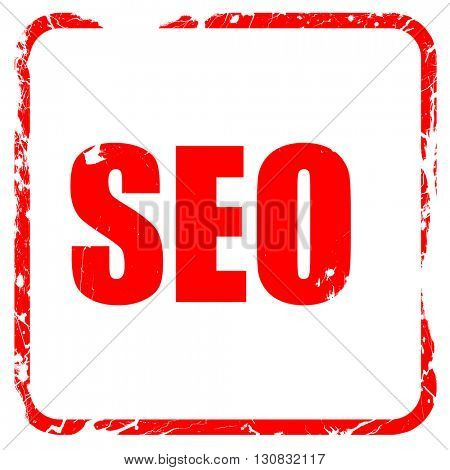 Search engine optimalization, red rubber stamp with grunge edges