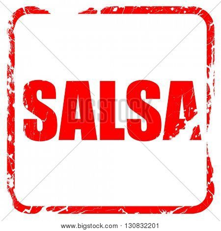 salsa dance, red rubber stamp with grunge edges