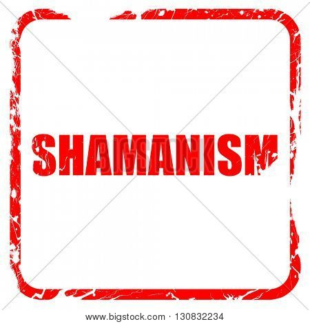 shamanism, red rubber stamp with grunge edges