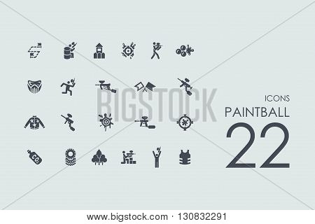 paintball vector set of modern simple icons
