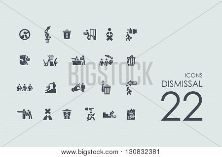 dismissal vector set of modern simple icons