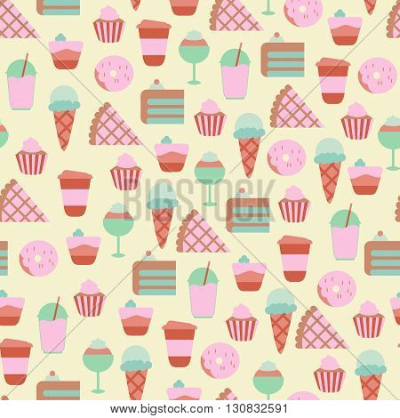 Seamless Pattern with Sweet Food Icons/ Seamless Background with Sweets and Candies