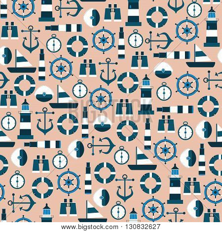 Vector Seamless Pattern with Marine Graphic Elements