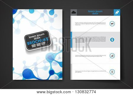 Set of brochure, poster templates in DNA molecule style. Beautiful design and layout