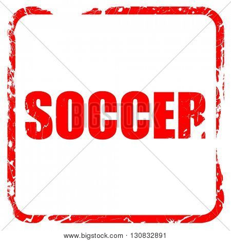 soccer, red rubber stamp with grunge edges