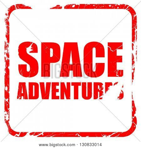 space adventures, red rubber stamp with grunge edges