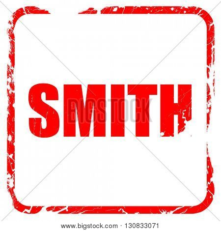 smith, red rubber stamp with grunge edges