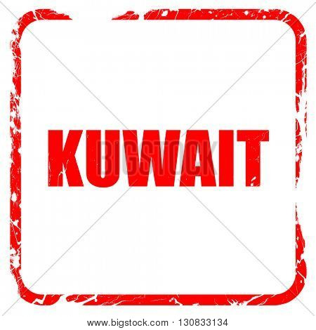 Greetings from kuwait, red rubber stamp with grunge edges