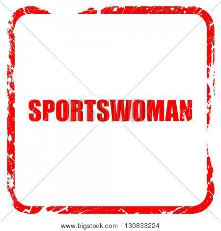 sportswoman, red rubber stamp with grunge edges