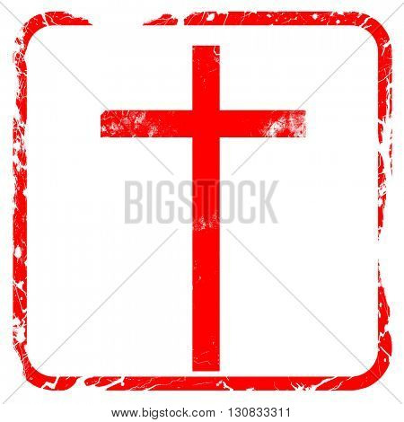 Christian cross icon, red rubber stamp with grunge edges