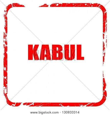 kabul, red rubber stamp with grunge edges