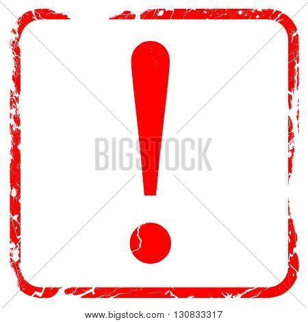 Hazard warning sign, red rubber stamp with grunge edges