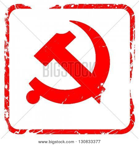 Communist sign with red and yellow colors, red rubber stamp with