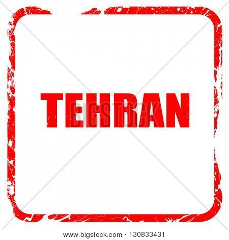 tehran, red rubber stamp with grunge edges