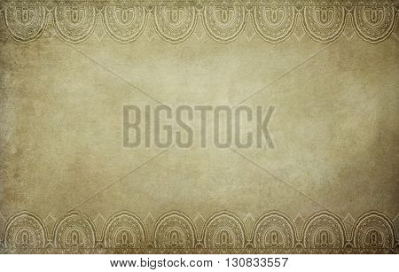Old dirty paper background with old-fashioned decorative border.