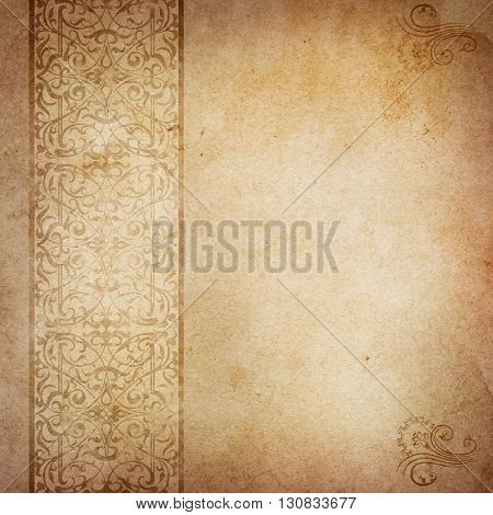 Old stained paper background with decorative ornamental border Vintage paper texture for the design.