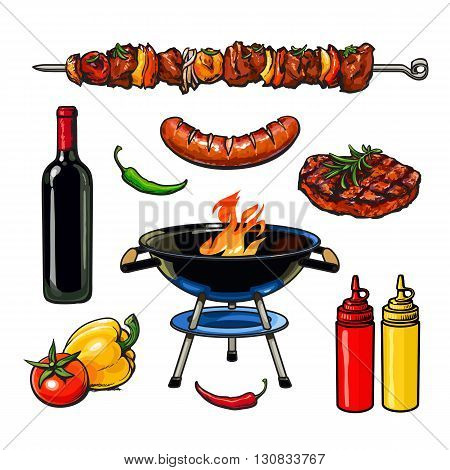 Set barbecue, vector sketch drawn by hand, isolated on a white background, sketch kebab meat sausage steak with sauce, barbecue grill meat with vegetables and wine, fried foods on grill with peppers