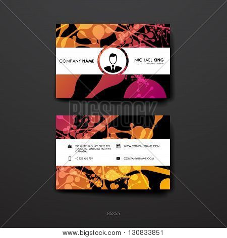 Set of Business Card Template in DNA molecule style. Beautiful Design and Layout