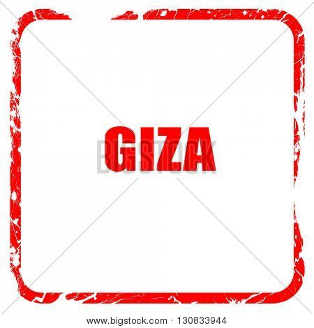 giza, red rubber stamp with grunge edges